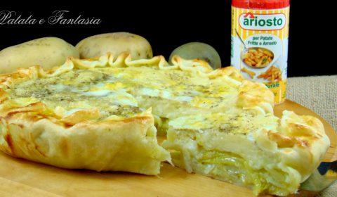 Torta salata con purea di patate, carciofi e formaggio