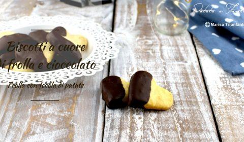 Biscotti a cuore di frolla e cioccolato