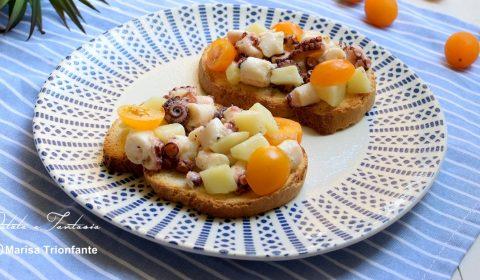 Bruschetta con polpo e patate